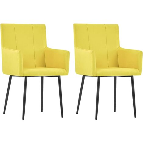 vidaXL Dining Chairs with Armrests 2 pcs Yellow Fabric - Yellow