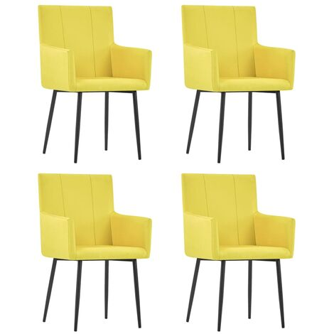 vidaXL Dining Chairs with Armrests 4 pcs Yellow Fabric - Yellow