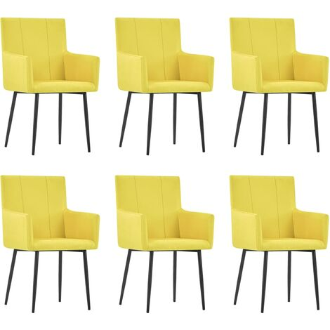 vidaXL Dining Chairs with Armrests 6 pcs Yellow Fabric - Yellow