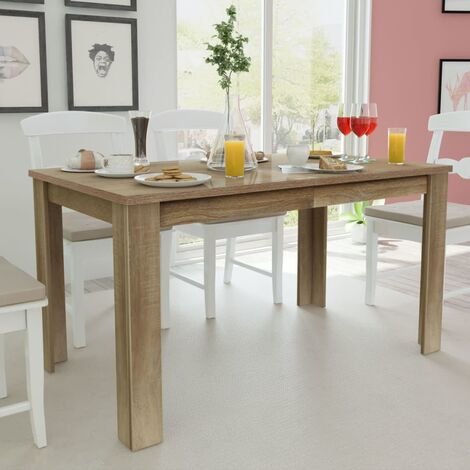 vidaXL Dining Table 140x80x75 cm Contemporary Dinner Breakfast Coffee Table Desk Home Decoration Kitchen Dining Room Furniture Oak/White
