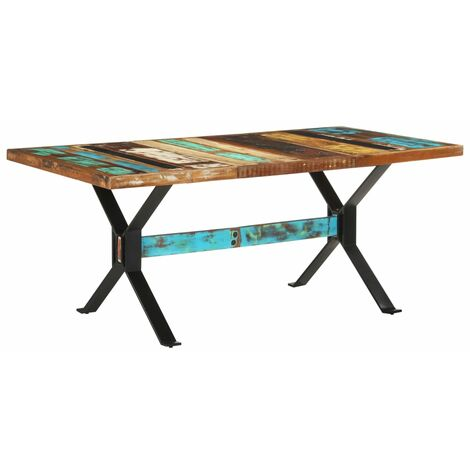 vidaXL Dining Table 180x90x76 cm Solid Reclaimed Wood - Multicolour