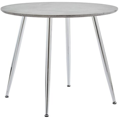 vidaXL Dining Table 90x73.5 cm MDF Concrete and Silver - Grey