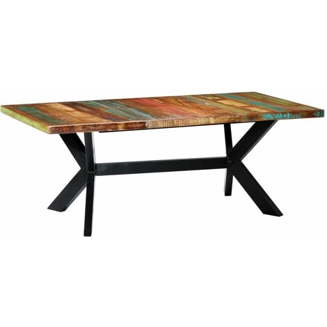 vidaXL Dining Table Solid Reclaimed Wood Kitchen Table Dinner Table Dining Room Table Industrial Style Easy to Assemble Sturdy Multi Sizes