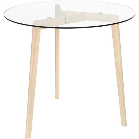 vidaXL Dining Table Transparent 80 cm Tempered Glass - Transparent