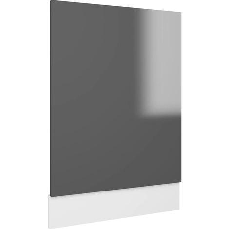 "main image of ""vidaXL Dishwasher Panel High Gloss Grey 45x3x67 cm Chipboard - Grey"""
