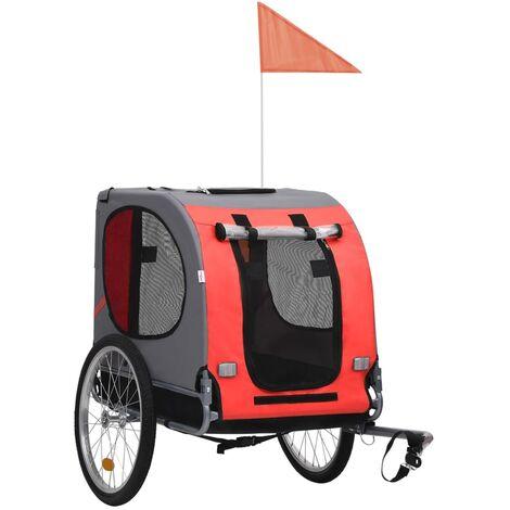 vidaXL Dog Bike Trailer Red and Black - Black