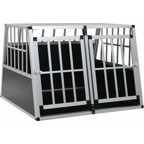 vidaXL Dog Cage with Double Door 94x88x69 cm - Silver