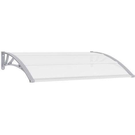 vidaXL Door Canopy Black and Transparent 120x80 cm PC - Transparent