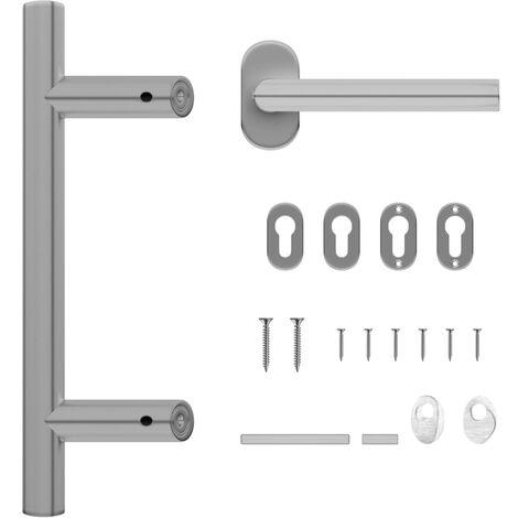 vidaXL Door Handle and Door Bar Set 350 mm Stainless Steel - Silver