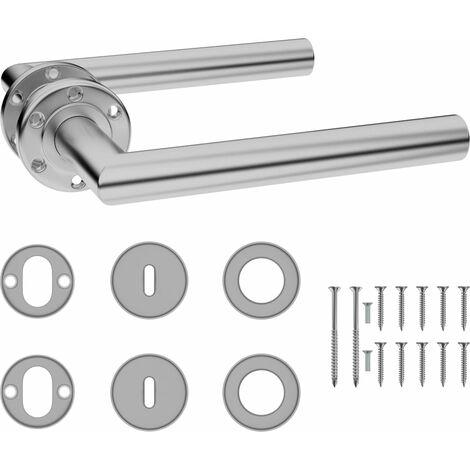 vidaXL Door Handle Set with BB Deadlock Stainless Steel - Silver