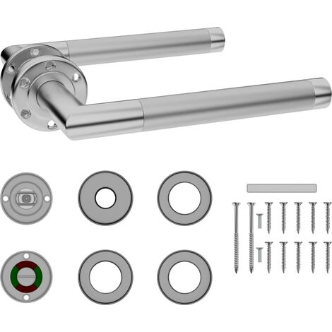 vidaXL Door Handle Set with WC Lock Stainless Steel - Silver