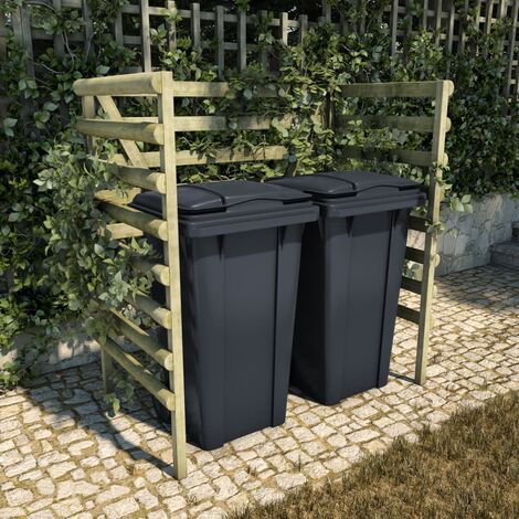 vidaXL Double Bin Shed Green 140x80x150 cm Impregnated Pinewood - Green