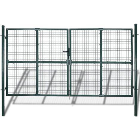 vidaXL Double Door Fence Gate Powder-Coated Steel - Green