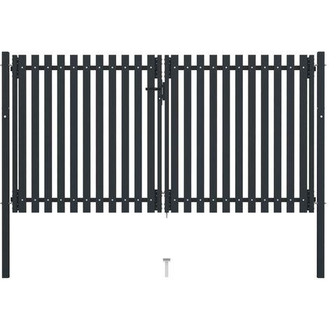 vidaXL Double Door Fence Gate Steel 306x200 cm Anthracite - Anthracite