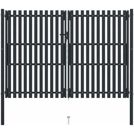 vidaXL Double Door Fence Gate Steel 306x250 cm Anthracite - Anthracite