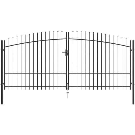 vidaXL Double Door Fence Gate with Spear Top 400x225 cm - Black