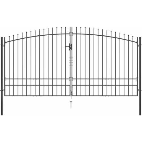 vidaXL Double Door Fence Gate with Spear Top 400x248 cm - Black