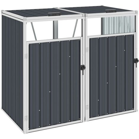 vidaXL Double Garbage Bin Shed Anthracite 143x81x121 cm Steel - Anthracite
