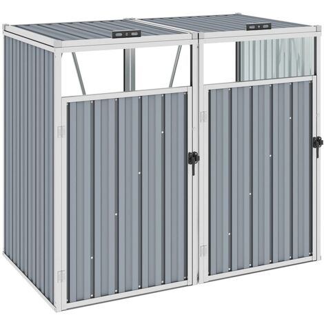 vidaXL Double Garbage Bin Shed Grey 143x81x121 cm Steel - Grey