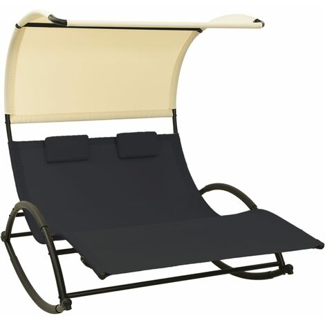 vidaXL Double Sun Lounger with Canopy Textilene Black and Cream - Black