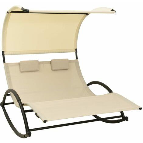 vidaXL Double Sun Lounger with Canopy Textilene Cream - Cream