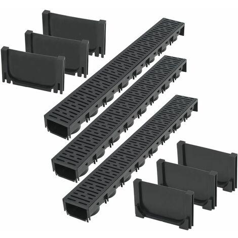 vidaXL Drainage Channels Plastic 3 m