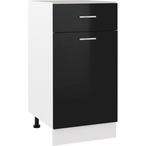vidaXL Drawer Bottom Cabinet High Gloss Black 40x46x81.5 cm Chipboard - Black