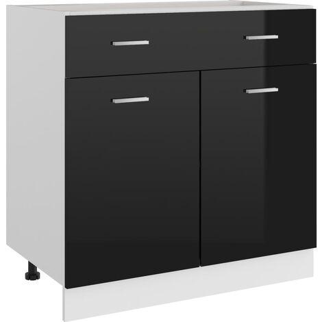 vidaXL Drawer Bottom Cabinet High Gloss Black 80x46x81.5 cm Chipboard - Black