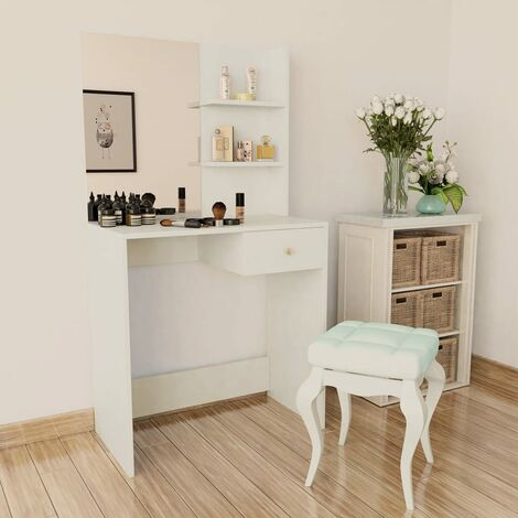 vidaXL Dressing Table Chipboard 75x40x141cm Makeup Cosmetic Mirror White/Oak