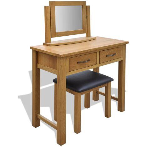 vidaXL Dressing Table with Stool Solid Oak Wood - Brown