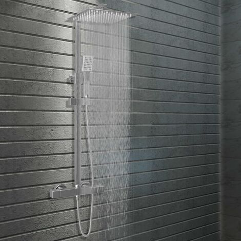 vidaXL Dual Head Shower Set with Thermostat Stainless Steel - Silver