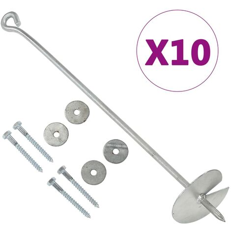 vidaXL Earth Anchors 10 pcs 10x60 cm Galvanised Metal
