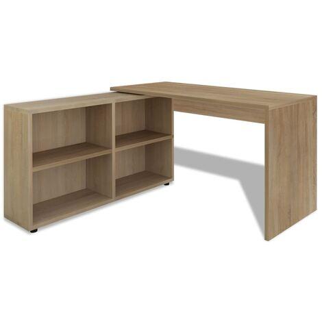 vidaXL Eckschreibtisch 4 Regale Computertisch Winkelschreibtisch PC Tisch Bürotisch Schreibtisch Arbeitstisch Laptoptisch Eiche/Weiß