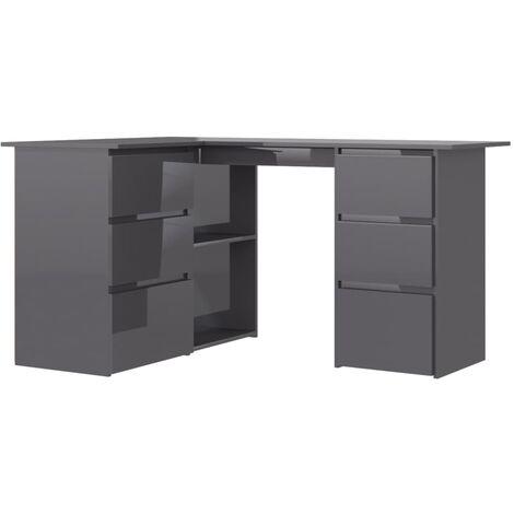 vidaXL Eckschreibtisch 6 Schubladen 2 Regale Schreibtisch Computertisch Bürotisch PC Tisch Laptoptisch Arbeitstisch 145x100x76cm Spanplatte mehrere Auswahl