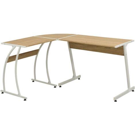 vidaXL Eckschreibtisch L-förmig Computertisch Winkelschreibtisch Ecktisch Bürotisch Büromöbel Schreibtisch 152x117x74cm Eiche/Schwarz