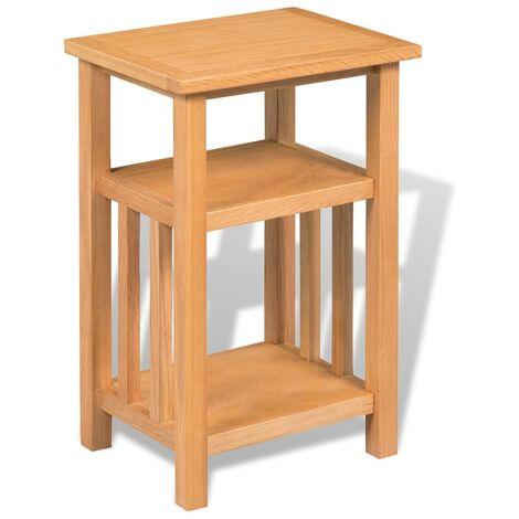 vidaXL End Table 27x24x37 cm Solid Oak Wood - Brown