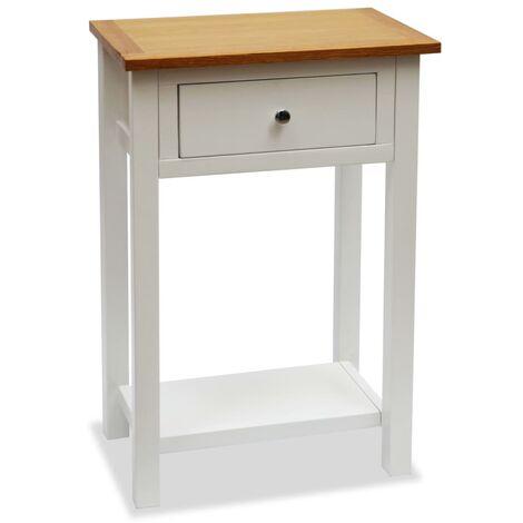 vidaXL End Table 50x32x75 cm Solid Oak Wood - White