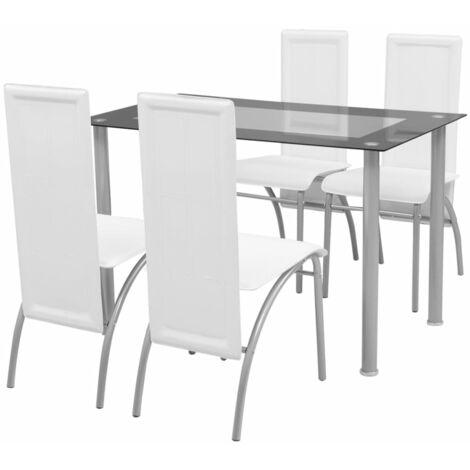 vidaXL Ensemble à Dîner Table et Chaises de Salle à Manger Mobilier de Cuisine Meubles de Salle à Manger Modernes 5/7 pcs Blanc/Noir