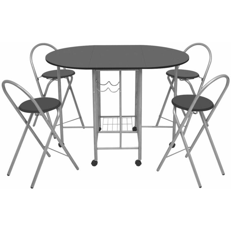 vidaXL Ensemble de Salle à Manger Pliable 5 pcs MDF Mobilier de Cuisine Table et Chaises de Repas Mobilier à Dîner Intérieur ChêneNoir