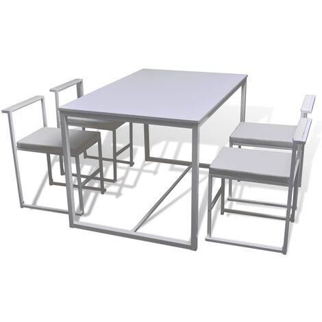 vidaXL Ensemble de Table et Chaises de Salle à Manger 5 pcs Mobilier de Repas Mobilier à Dîner Meubles de Cuisine Maison Intérieur Blanc/Noir