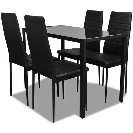vidaXL Ensemble de Table et Chaises de Salle à Manger 5 pcs Mobilier de Salle à Manger Meubles de Cuisine Modernes Maison Noir/Blanc