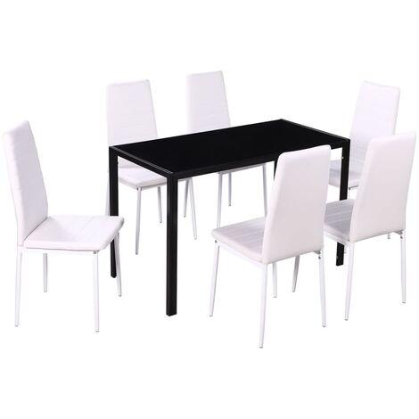 vidaXL Ensemble de Table et Chaises de Salle à Manger 7 pcs Mobilier de Salle à Manger Meubles de Cuisine Modernes Maison Noir/Blanc