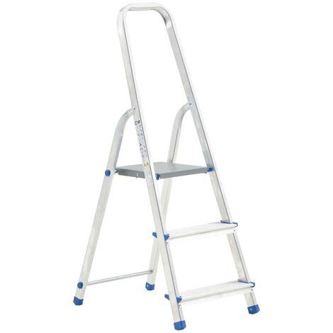 vidaXL Escalera de aluminio 3 peldaños 150 kg