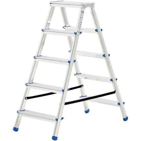 vidaXL Escalera de aluminio doble cara 5 peldaños 113 cm