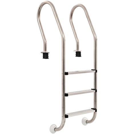 vidaXL Escalera de piscina 3 peldaños acero inoxidable 120 cm - Plateado