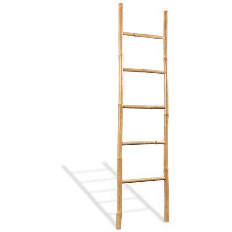 vidaXL Escalera para toallas con 5 peldaños de bambú 150 cm - Marrón
