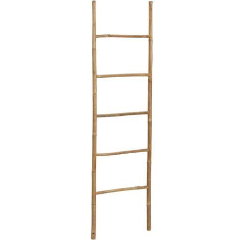 vidaXL Escalera para toallas con 5 peldaños de bambú 170 cm - Marrón