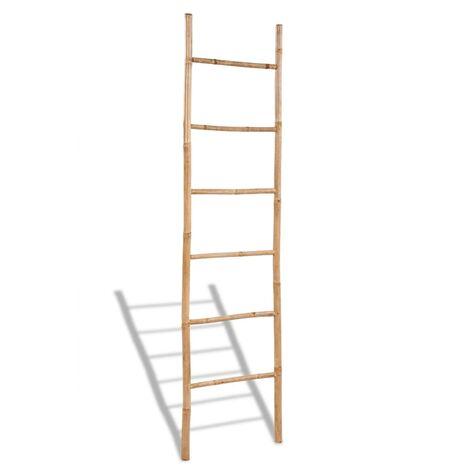 vidaXL Escalera para toallas con 6 peldaños de bambú - Marrón