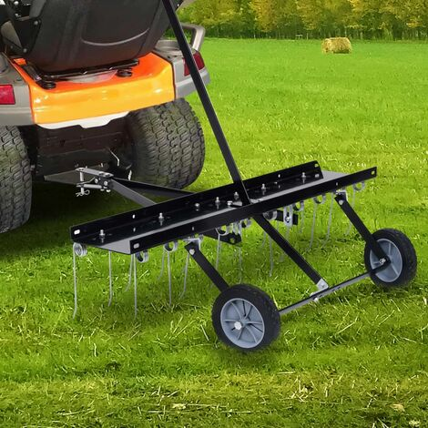 vidaXL Escarificador para cortacésped ride-on 100 cm - Negro