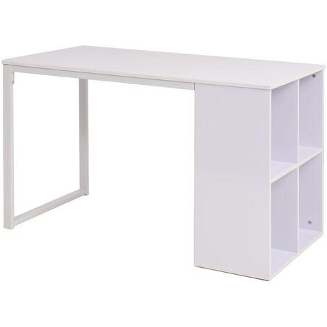 vidaXL Escritorio con Estantes Mesa de Oficina Ordenador Blanco/Blanco y Roble